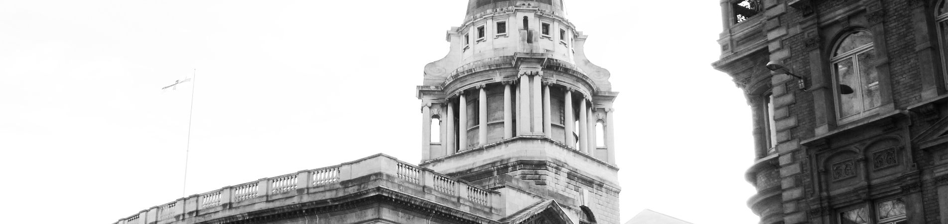 Black and White Photo of the Tower on The Royal Courts of Justice